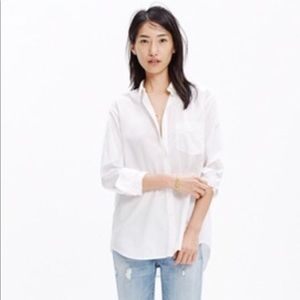 Madewell Oversized BoyShirt White Cotton Button Up